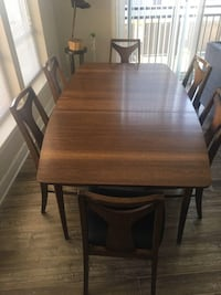 Mid Century Modern Kent Coffey Perspecta Walnut Sculpted Dining Table and 6 Chairs Set - MINT CONDITION Reston, 20190