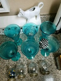 teal beveled Glass cups Citrus Heights, 95610