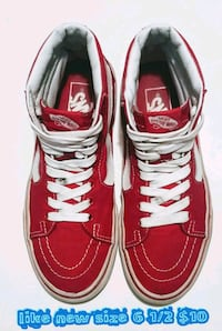 pair of red Vans low-top sneakers 2056 mi