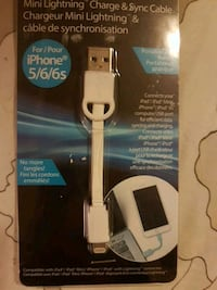 white mini lightning charger & sync cable pack