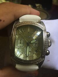 diamond watch with white leather strap sterling silver Durham, 27705