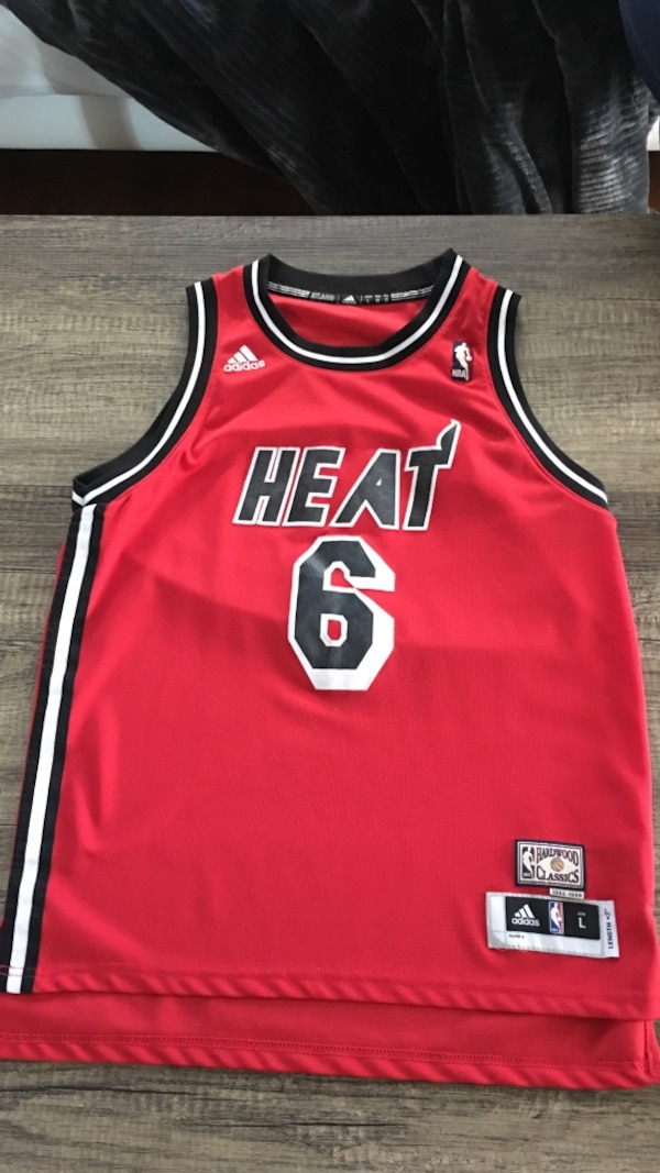 the latest 4fa4c 24ddb Used Red and black lebron james heat 6 basketball jersey for ...