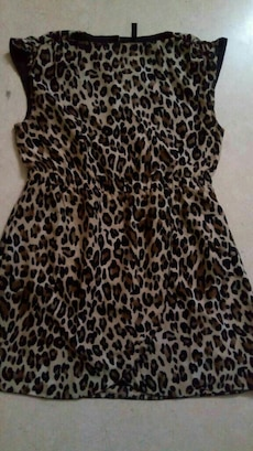 women's brown and black leopard print sleeveless d