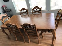 rectangular brown wooden table with six chairs dining set Lovettsville, 20180
