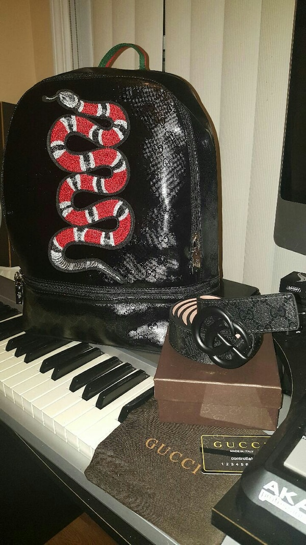 a304fc0b0e93 Used red snake print black leather backpack and black Gucci leather belt  for sale in Lawrenceville - letgo