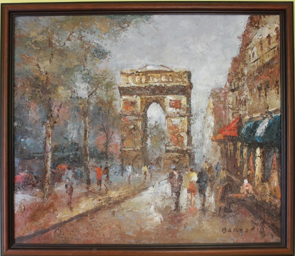 Listed Artist Barton original oil painting on canvas PARIS Triumphal Arch,Signed