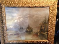 VINTAGE OIL PAINTING PASSING THE CLIFFS  WITH VINTAGE FRAME