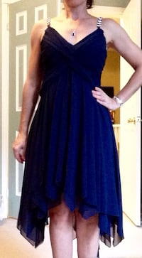 Navy blue Dress- chiffon and lace - Christmas parties are coming!
