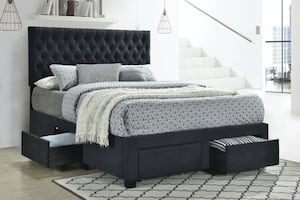 Soledad Tufted Storage Bed In Charcoal DELIVERY FINANCING AVAILABLE