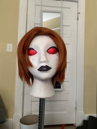 Middle part red wig