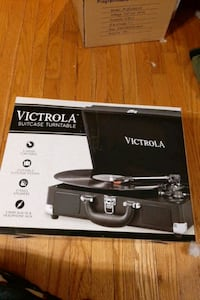 Victrola turntable. (Record player)