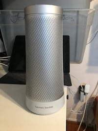 Gray and white Harman Kardon speaker