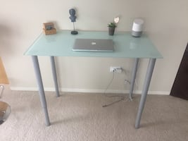 Console glass table/ work desk; adjustable height- extendable legs