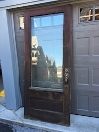 1920's beveled glass door with dentil shelf, and hardware Abington, 19001