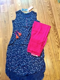 New kurti/Long TOP/dress with sleeve.magenta palazzo pant,Size-s Toronto, M4C