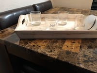 White serving tray with 4 tumblers with coasters Thornton, 80229