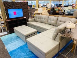 Grey Leather Sectional w/ Ottoman
