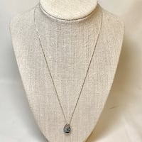 Sterling Silver Aquamarine & Sapphire Pendant with Sterling Box Chain Chantilly, 20151