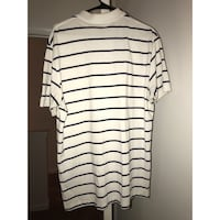 black and beige stripe polo shirt