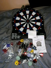 electronic dart board with darts, tips etc