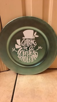 round green ceramic plate with Walking in a winter wonderland print