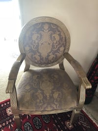 brown wooden framed gray floral padded armchair Irvine, 92618