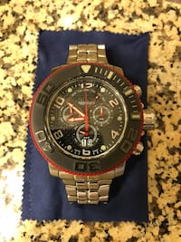 round black chronograph watch with silver link bracelet Fountain Valley, 92708