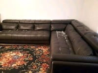 brown leather sectional sofa with ottoman Montreal, H8R 4B1