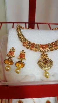 Red and Gold Necklace Set Mississauga