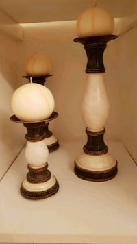 3 brown/ cream candle holders with 3 ball candles Richmond Hill, L4E 5E8
