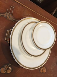 Cleveland China G.H.B. Co. 18k gold Greek key dishes