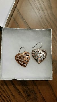 Heart shaped two toned earrings