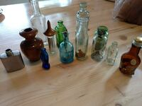 Small bottles and wooden box