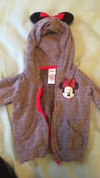 Size 3T girls grey Minnie Mouse hoodie with ears  Triangle, 22172