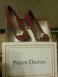 pair of women's red Pierre Dumas peep-toe pumps with box