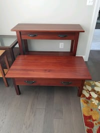 crate and barrel solid wood coffee and console tab McLean, 22101