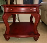 Whimsical Pigeon Blood red end table.  Oakton, 22124