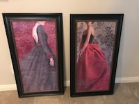 Two black wooden framed paintings large  Henderson, 89014
