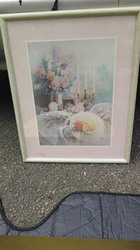 white and pink flowers painting with white wooden frame Louisville, 40204