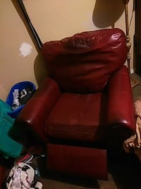 red  leather sofa chair