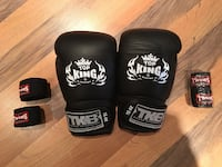 16oz TOP KING Muay Thai / Boxing Gloves + 2 TWINS Hand Wraps MARKHAM