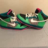 green-white-blue-pink Nike high-top sneakers