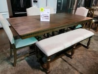 Dining table and chairs with bench set  Pineville, 28134