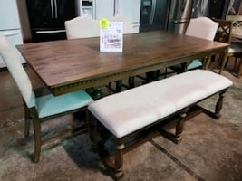 Dining table and chairs with bench set