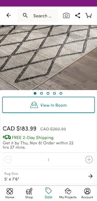 "White and black area rug brand new 5'x7'.6"" Mississauga, L5J 1R2"