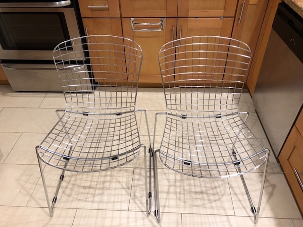 Used Modern Metal Dining Chairs Set Of 4 Comes With 4 Seat
