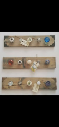Custom Hand Designed Solid Wood Wall Decor w hanging knobs - (Optional Stains Available and hardware)  Richmond, V7A 1H2