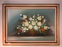 Large Floral Flowers Still Life Oil Painting on Canvas Signed Cohn Classic Frame Lancaster
