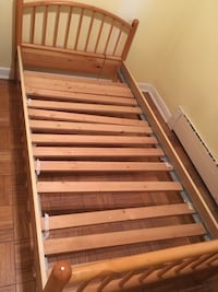 Pine night table with twin bed frame Toronto, M6E 4K4