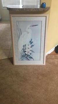 white long-beak bird on white Dogwood blossoms painting with brown frame